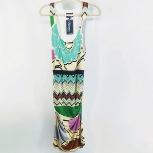 NWT analili Sleeveless Ruched Side Hem Midi Dress